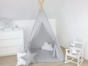 TEEPEE TENT - White Stars on Grey