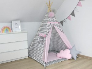 TEEPEE SET WITH PILLOWS - GRAY & PINK