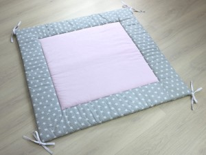 Teepee floor mat - Light pink & Stars on grey