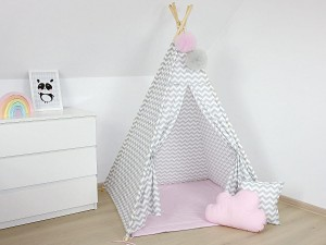 TEEPEE TENT - Gray zigzag with light pink