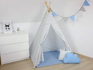 TEEPEE TENT - Gray zigzag with blue