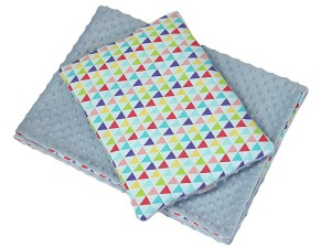 BLANKET AND PILLOW  Triangles and blue minky