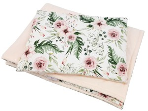 Set of blanket and  pillow Premium- In garden and velvet powder pink