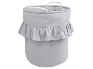 Toy basket with frill - Light gray