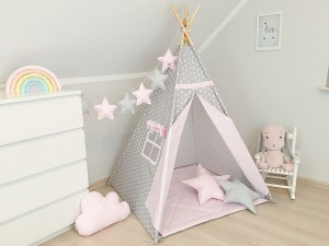 Teepee set with pillows- Gray & Pink
