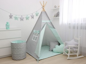 TEEPEE SET WITH PILLOWS - STARS & MINT
