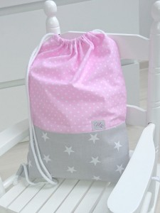 Sack-backpack - Stars and pink