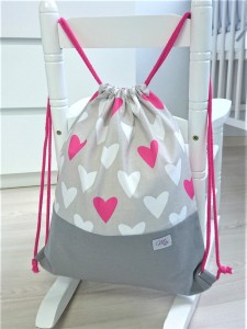 Sack-backpack - Heart and gray