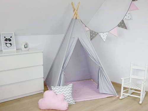 uk availability 98052 3f2db TEEPEE TENT - Light gray with pink